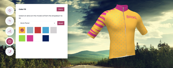 3D configurator for cusotmizable cycling jersey